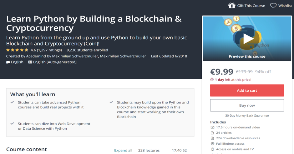 Learn Python by Building a Blockchain and Cryptocurrency